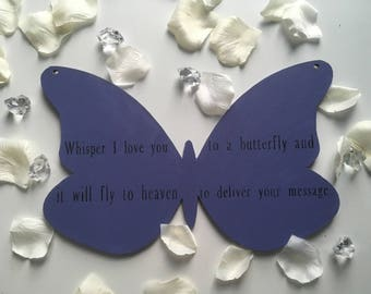 Wooden butterfly with message