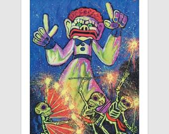 Zozobra Glow  11x14 Signed Day of the Dead [Dia De Los Muertos]  Print by NM artist Sean Wells// Old Man Gloom