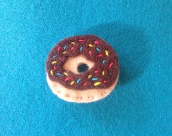 Chocolate frosted donut with sprinkles pin or patch