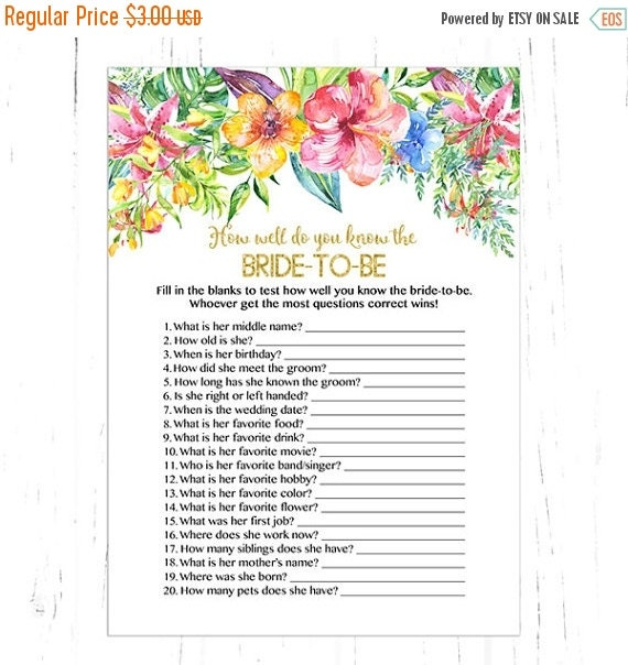 How Well Do You Know The Bride Shower Game By