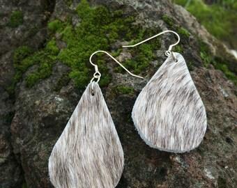 Grey Brindle Hair on Hide Tear Drop Earrings