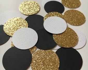 200 Black, White and Gold Confetti | Circle Confetti | Table Decor
