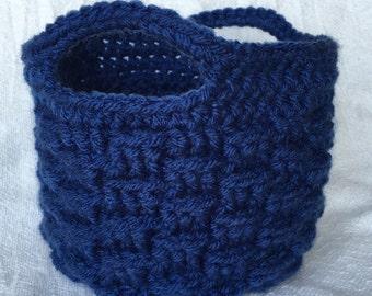 Blue Crochet Basket, Small Storage Basket, Home Decor