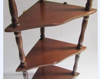 Vintage Retro Corner Wot Not Whatnot Wall Display Shelving Mid century 60's Teak