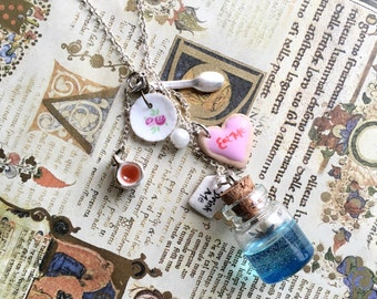 Alice in Wonderland Mad Teaparty Sterling Silver Charm Necklace