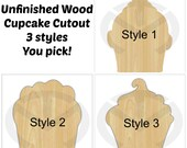 Unfinished Wood Cupcake Laser Cutout, Wreath Accent, Door Hanger, Ready to Paint & Personalize, Various Sizes, 3 Styles