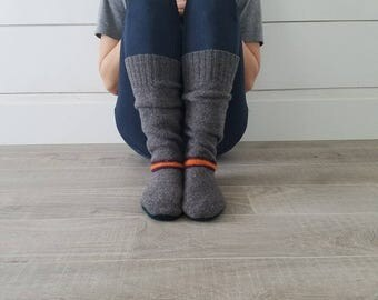"Gray with a Stripe Sweater Socks // Size 5-8, 17"" Tall // Cabin Socks // upcycled wool sweater // Washable // Thick felted wool sole"