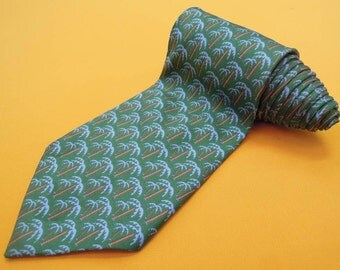 Gucci Tie Pure Silk Palm Tree Repeat Pattern Green Vintage Designer Dress Necktie Made In Italy