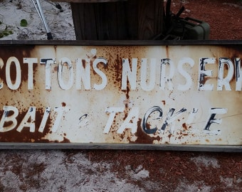Large Vintage 68 x 26 Cotton's Nursery Bait & Tackle Wood Framed Sign