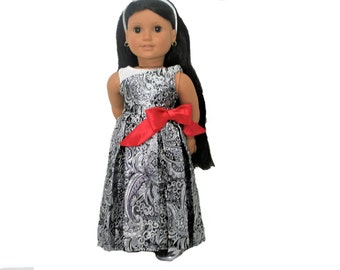 Silver  and Black Brocade Holiday Dress with Silver Shoes for 18 Inch Dolls such as American Girl, Our Generation, Madam Alexander