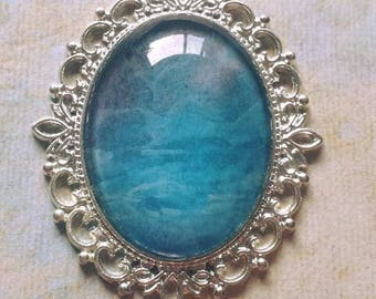 """Blue Water Pendant 2 1/2"""" by 2"""""""