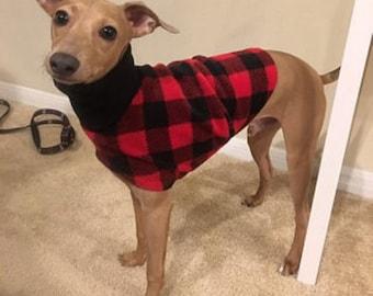 """Italian Greyhound Clothing - """"Lumber Jack Jacket"""". Italian Greyhound Coat. Dog Clothing. Pet Clothing. Small dog clothes. Dog Jacket."""
