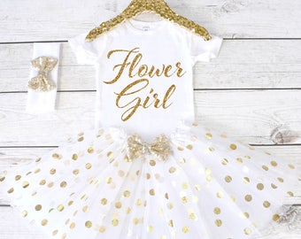 Flower Girl. CUSTOM font. Flower Girl Shirt. Flower Girl Outfit. Flower Girl Tutu Outfit. Flower Girl. Rehearsal Dinner. S31 FWG (WHITE)