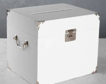Trunk Style Wedding Card Box Wedding Reception Supplies Card Holder White or Ivory