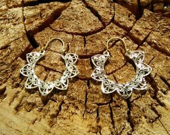 Mandala Ethnic Flower Brass Earrings