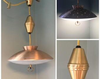 Ceiling mount etsy vintage mid century atomic gold retractable light fixture rewired ceiling mounted light fixture mad mozeypictures Choice Image