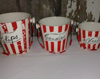 Yona Original 1959 ceramic 3 pc set chips candies nuts pails
