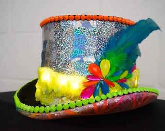 Love Khaos Neon LED light burning man top hat, holographic sequin feather headdress festival head piece costume cap rave helmet captain