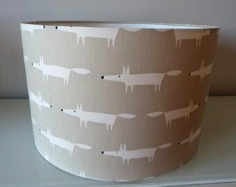 Large 40cm Drum Lampshade in Harlequin's Scion Little Fox Snow Fabric