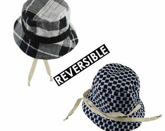 checkered hat, baby hat, toddler had, summer hat, sun hat, beach hat, bucket hat, white blat, wax kids, ankara baby, madras