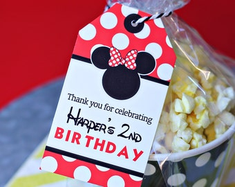 Red Minnie Mouse Favor Tags - Printable Minnie Mouse Party Favor Tags in Red by Printable Studio