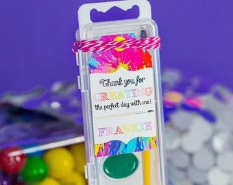 Art Party Favor Tags - Rainbow Art Party Favor Tags - Printable Painting Party Favor Tags by Printable Studio