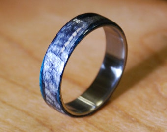 Aqua/Black Wood Ring