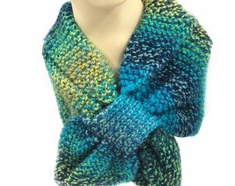 Neon Keyhole scarf, Neck Scarf, Knit Scarf, Stay put scarf, women, neck warmer, short scarf scarflette neckwarmer handmade scarf Ascot scarf