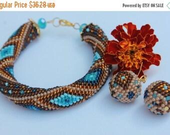 VALENTINE SALE Bead Crochet Bracelet, Seed Bead bracelet, Beadwork bracelet, brown bracelet, geometric bracelet made with love, trending