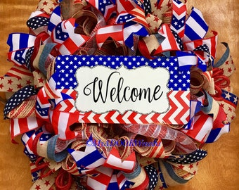 Welcome Patriotic Wreath, Americana Rustic Wreath, 4th Of July Deco Mesh Wreath, Primitive Patriotic Wreath, Welcome Red White Blue Wreath,