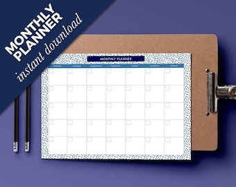 Monthly planner 2017 - Schedule Monthly printable - A4 planner schedule - Printable schedule print at home - Dowload monthly print - Weekly