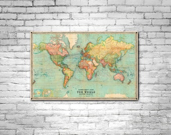 World map etsy beautiful world map vintage atlas 1914 mercator projection old world map antique atlas steel sign plasma gumiabroncs Gallery