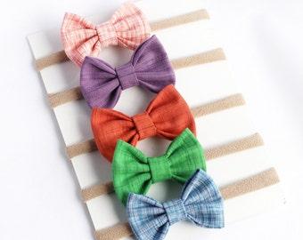 Baby Bow Headbands - Baby Headbands - Baby Girl Headbands - Baby Hair Bows - Hair Bows - Newborn Bows -Infant Bow Headband-Rainbow Headbands