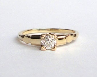 Old Mine Cut Diamond Ring, Solitaire Engagement Ring, Wedding Band, 14K Yellow Gold