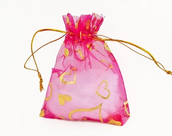 Organza Bags - 15 Pink Voile Drawstring Bags with Hearts - 12cm x 10cm Drawstring Bags for Jewelry - Party Favor Bags - Sheer Bags - BG409