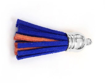 Tassels - Small Tassels - 10 or 25 Blue over Orange Double Color Tassels for Jewelry - Decorative Tassels - Key Chain Tassel - TC-S221