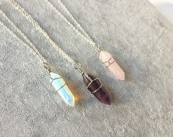 wire wrapped crystal necklace,wrapped crystal necklace,healing crystal necklace,crystal necklace