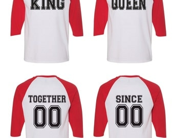 King and Queen Matching Couple Raglan Straight Fit Raglan Shirt.