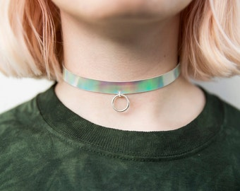 Retractor holográfica de anillo, collar grunge iridiscente