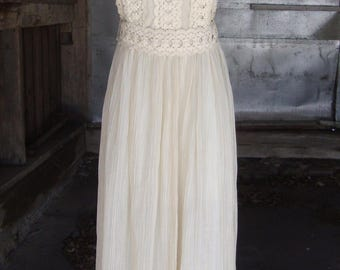 Vintage Dress * Lilli Diamond of California * Cotton Lace and Gauze Boho Halter Dress * S-M * Beach Wedding