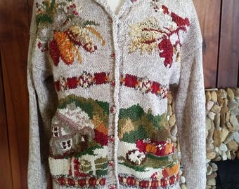 Fall Country Farm Sweater with Pinecones, Pumpkins, Size m, Could Fit L