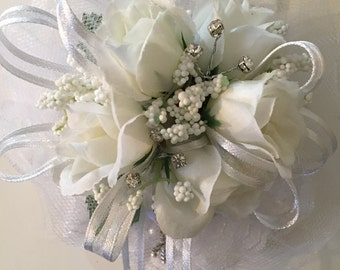 First Holy Communion Wrist Corsage Bracelet, White Silk Wrist Corsage, Cross Charm Corsage