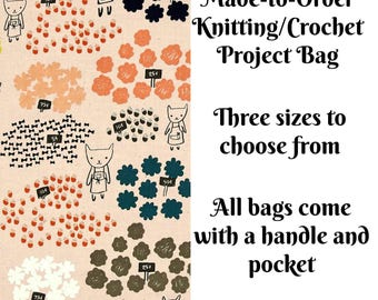 Knitting Project Bag, Flowers for Sale in Peach, Sock Knitting Bag, Zippered Project Bag, Sweater Bag, Crochet Bag, Cross Stitch Project Bag