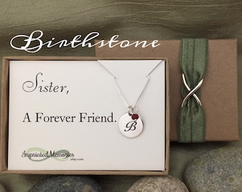 Birthday Gift for SISTER Forever Friend - Sister gift Sister Necklace 30th Birthday 20th Birthday - Sterling Silver Birthstone Necklace