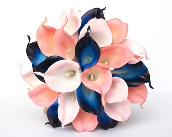 Navy Blue Wedding Bouquet - Coral Calla Lily Wedding Bouquet , Coral, Blush pink and Navy Real to touch calla Lily , Coral Bridal Bouquet