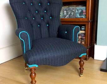 Kilgour Grey Wool Pinstripe Lounge Chair - Abraham Moon Fabric