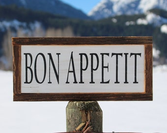 Barn Wood Sign   French Kitchen Sign   Bon Appetit Sign   French Country  Decor