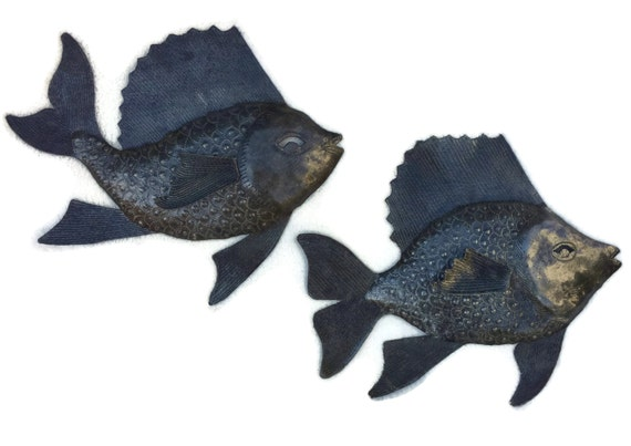 "Nautical Fish, Set of 2, Wall Hanging Haitian Metal Decor  9.5"" x 10.5"""