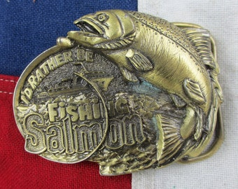 "Vintage 1980's ""I'd Rather Be Fishing"" Salmon Belt Buckle Solid Brass Heavy Great American Buckle Co Wildlife Outdoors Angling River Lake"