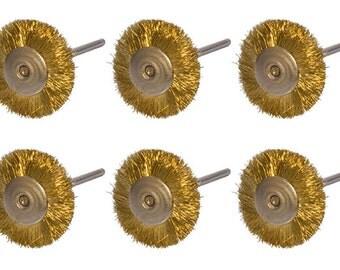 "Set of 6 Mounted Brass Wire Wheel Brushes w/ 3/32"" Mandrel Jewelry Making Metal Rotary Finishing Polishing Tool - POL-0006"